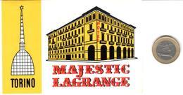 ETIQUETA DE HOTEL  -MAJESTIC LAGRANGE  -TORINO  -ITALIA - Etiquetas De Hotel