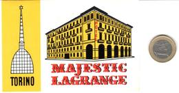ETIQUETA DE HOTEL  -MAJESTIC LAGRANGE  -TORINO  -ITALIA - Hotel Labels