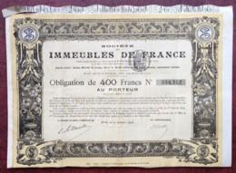 Immobilier . Société Des Immeubles De France . Obligation De 400 F Au Porteur 1896 . - Actions & Titres