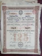 Société De La Tannerie De L'Azoff . 16 Parts De 125 Roubles Au Porteur . 1908 . Taganrog . - Russia