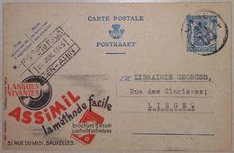 Publibel Carte Postale Assimil Apprendre Les Langues Vivantes Avec Disques Audio 1945 - Entiers Postaux
