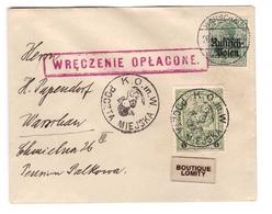 Pologne Lettre 1915 Occupation Allemande Brief Warschau Cachet Rouge Timbre Poste Locale Varsovie Armoirie Sirene épée - Storia Postale