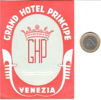 ETIQUETA DE HOTEL  - GRAND HOTEL PRINCIPE  -VENEZIA  -ITALIA - Hotel Labels