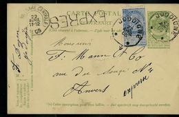 Carte Obl. N° 38. Obl. Jodoigne 22/04/1905 ( 114 Ans)  Pour Anvers (Gare Centrale) En Exprès - Entiers Postaux