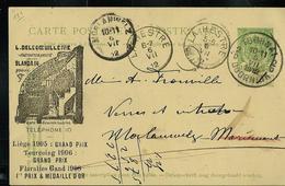 Carte Obl. N° 38. + Repiquage (Floralies Gand 1906) Obl. Tournai-Doornik 2D Du 05/07/1912 + La Hestre Et Morlanwelz - Entiers Postaux