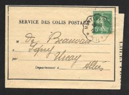 Avis (Chemin De Fer D'Orléans) Avec Cachet Convoyeur Montlucon-Pour Urcay Allier - Marcophilie (Lettres)