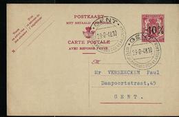 Carte N° 129. II. NF. +  (-10%) Obl. Gent 29/08/1948 - Entiers Postaux