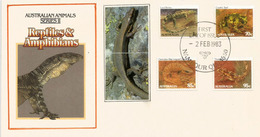 AUSTRALIA. Australian Reptiles & Amphibians Set On FDC - Reptiles & Batraciens