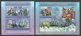 TOGO 2011 AMUNDSEN ARCTIC SHIPS BIRDS PENGUINS POLAR BEAR SET OF 2 M/SHEETS MNH - Togo (1960-...)