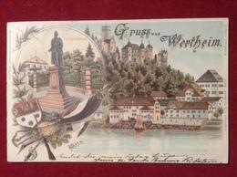 AK Wertheim Litho Mehrbild Uferpartie Segelschiff Kriegerdenkmal Coloriert 1897 - Wertheim