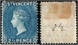St. Vincent. 1897. Queen Victoria. 2 1/2p. Blue. Sc. 45. MH - St.Vincent (...-1979)
