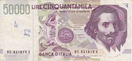 BILLETE DE ITALIA DE 50000 LIRAS DEL AÑO 1992 DE LORENZO BERNINI EN CALIDAD EBC (XF) (BANKNOTE) - [ 2] 1946-… : République