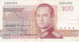 BILLETE DE LUXEMBURGO DE 100 FRANCS DEL  AÑO 1980 SERIE L (BANKNOTE) - Luxemburgo