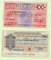 1976 Ist. Bancario Italiano L.100 Gr.Finanziario Tessile Marus - Cred.Italiano L.100 Unione C.T.Milano + L. 1000 - [10] Assegni E Miniassegni