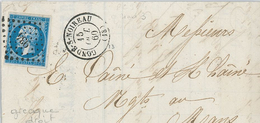 Napoleon III 20ct Geschnitten - Conde-sur-Noireau (13=Calvados) 15.10.1860 Brief Nach Le Mans über Cherbourg Paris - 1853-1860 Napoléon III