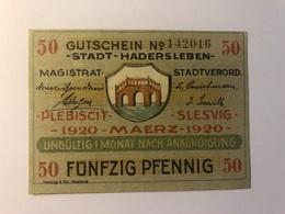 Allemagne Notgeld Hadersleben 50 Pfennig - [ 3] 1918-1933 : République De Weimar