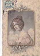 """CARTE FANTAISIE CPA COLORISÉE. ILLUSTRATION M.M. VIENNE. Nr 229. """" HEUREUSE ANNEE  """" FEMME DANS UN MÉDAILLON. ANNEE 1905 - Vienne"""