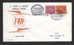 Portugal Premier Vol Jet Lisbonne Paris France 1962 First Jet Flight Lisbon Paris - Poste Aérienne