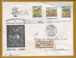 Registered Letter (SR) Of Luanda, Angola In 1961. Rhino. Gnu. Zebra. Neushoorn. Aeronautica Civil De Angola. Elefante. - Rhinocéros