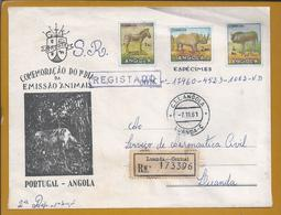 Registered Letter (SR) Of Luanda, Angola In 1961. Rhino. Gnu. Zebra. Neushoorn. Aeronautica Civil De Angola. Elefante. - Rinocerontes