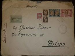 O) 1947 SAN MARINO, QUOTATION ON LIBERTY-FRANKLIN DE ROOSEVELT, COAT OF ARMS, REGISTERED TO MILAN, XF - San Marino