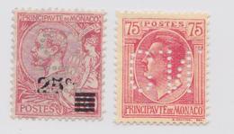 Monaco - Lot De 2 Perforés S.M. Et C.N. - Timbre Perforé - Perfin Stamp - Neufs