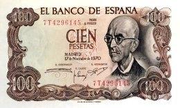 Spain 100 Pesetas, P-152a (17.11.1970) - UNC - [ 4] 1975-…: Juan Carlos I.