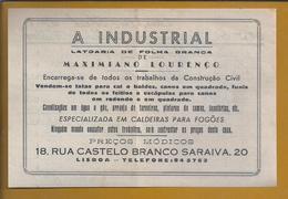 Recibo Da Latoaria De Folha Branca. Funileiro. Fatura De 1956. White Sheet Latoaria Receipt. Tinker. Basteln. 2sc - Portugal