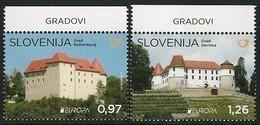 """ESLOVENIA/ SLOVENIA/ SLOWENIEN -EUROPA 2017- """"CASTILLOS - CASTLES - SCHLÖSSER"""".- SERIE De 2 V. - 2017"""