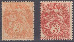 FRANCE - 1900 -  2 Valori Nuovi MNH Di Yvert 109 In Due Varietà Diverse Di Colore. - 1900-29 Blanc