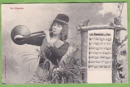 """CPA Bergeret En Chasse Instrument De Musique Cor De Chasse Partition """" Les Honneurs Du Pied """" Animé Femme - Jacht"""