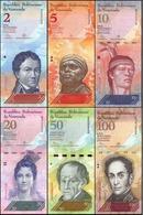 Venezuela Lot De 6 Billets 2-100 Bolivares Set 2007-2017 Animaux UNC - Venezuela