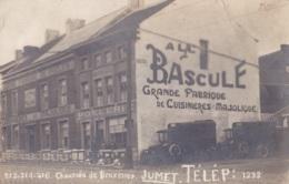 """Photo Carte De Jumet Chaussée De Charleroi """" A La Bascule """" Grande Fabrique De Cuisinières Majolique - Fleurus"""