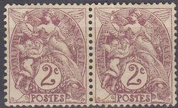 FRANCE - 1900 -  Coppia Di 2 Valori Nuovi (un MNH E Un MH) Di Yvert 108 Uniti Fra Loro. - Francia