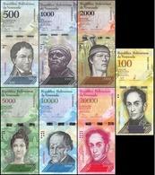Venezuela Lot De 7 Billets 500-100 000 Bolivares Set 2007-2017 Animaux UNC - Venezuela