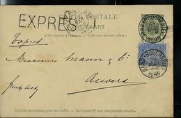 Carte N° 17. Obl. Gand (Boucherie) Du 22/08/1896  Pour Anvers Par Exprès - Entiers Postaux