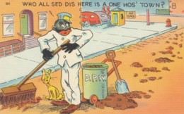 Black Americana, Black Street Cleaner 'Who Said This Is A One-Horse Town' C1930s/40s Vintage Linen Postcard - Black Americana