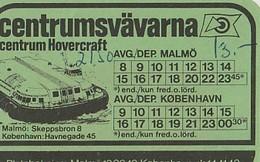 Centrumlinjen - Centrumsvavarna Centrum Hovercraft Malmö - Kopenhavn. Timetable Card. - Mundo