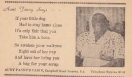 Smyrna Georgia Aunt Fanny's Cabin Restaurant, Black Woman Pictured C1950s Vintage Postcard - United States