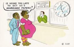 Black Americana, Humor, Pregnant Woman 'Too Late For Marriage License?' C1950s Vintage Postcard - Black Americana