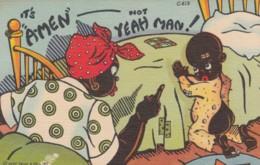 Black Americana, Humor, Boy Prays Mother Says 'Its Amen Not Yeah Man' C1940s Vintage Linen Postcard - Black Americana