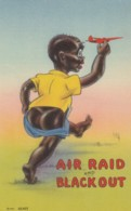 Black Americana, Humor, 'Air Raid And Black Out' Boy With Plane, Pants Falling Down C1940s Vintage Linen Postcard - Black Americana