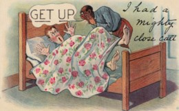 Black Americana, Humor, 'I Had A Mighty Close Call' Servant Wakes Man In Bed C1910s/20s Vintage Postcard - Black Americana