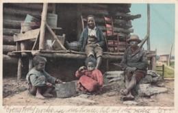 Black Americana, 'Living Easy' Black Children On Front Porch, C1900s Vintage Detroit Photographic Co. #6074 Postcard - Black Americana