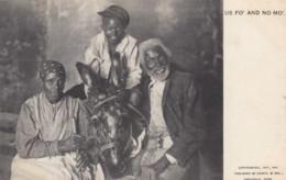Black Americana, 'Us Fo And No Mo' Black Family With Donkey, C1890s Vintage Postcard - Black Americana