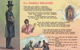 Black Americana, 'The Darkey Preacher' Black Religion Theme, C1930s Vintage Curteich Linen Postcard - Black Americana