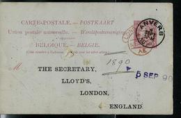 Carte N° 21. I.   Obl. Anvers 04/09/1890  Pour London - Entiers Postaux