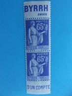 TIMBRE No : 365 , PAIRE De CARNET , Avec PUBLICITE BYRRH  , XX , En Trés Bon état - France