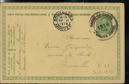Carte N° 53. A   Obl. Braine -Le - Comte 1919   Pour Bxl 20/02/1919 - Entiers Postaux