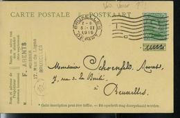 Carte N° 50 Maquillé D'un Autre Timbre; Obl. Bxl Départ 05/02/1919  Ligne Ondulé  Avec Lettre C - Entiers Postaux